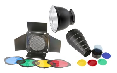 Basic kit accessories/Snoot/ Barn door/Reflector 16,5 cm with colour filters and Honney comb 0