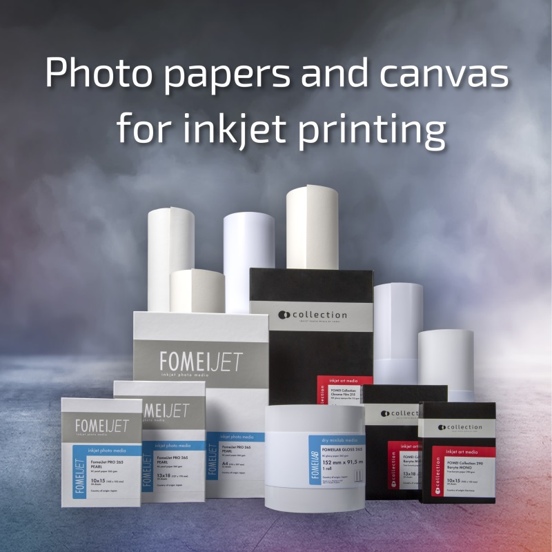 Portfolio of FOMEI photo papers and canases for inkjet printing.